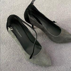 BCBG size 7 grey & black suede dress shoe